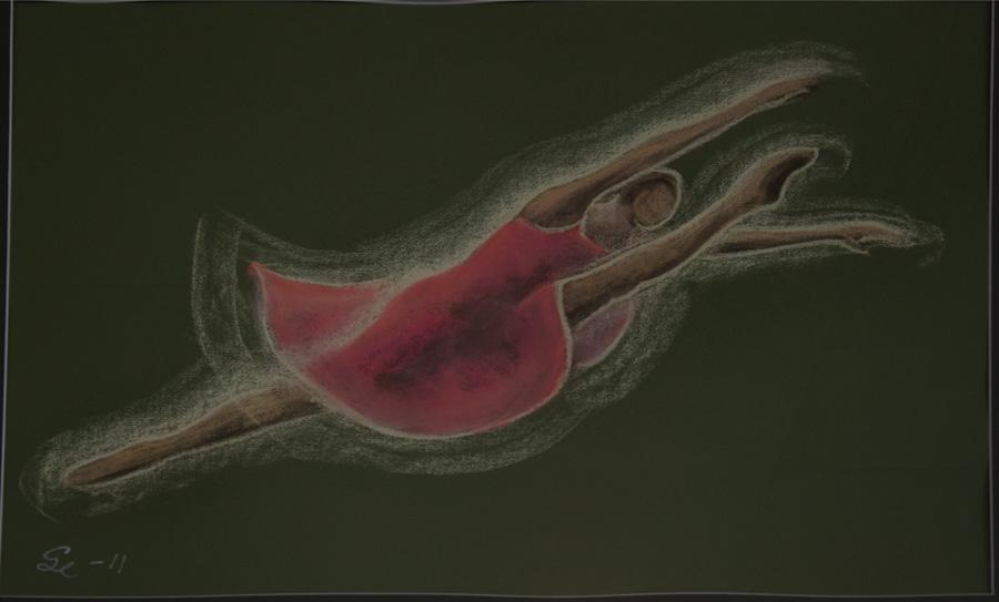 Rose. Pastell 60x77.  Grön passepartou.
